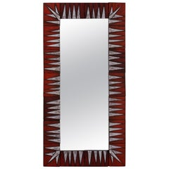 Midcentury French Ceramic Red and White Tile Framed Mirror