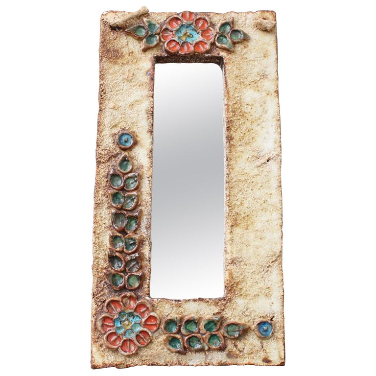 Midcentury French Ceramic Wall Mirror with Flower Motif by La Roue, circa 1960s For Sale