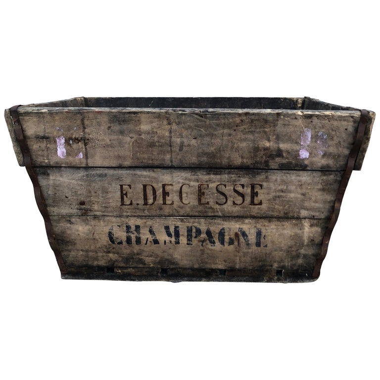 Midcentury French Champagne Harvest Basket For Sale
