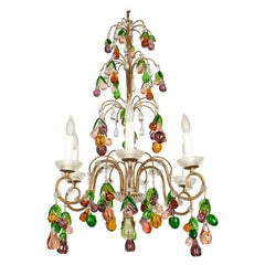 Mid Century Italian Chandelier with Glass Fruits