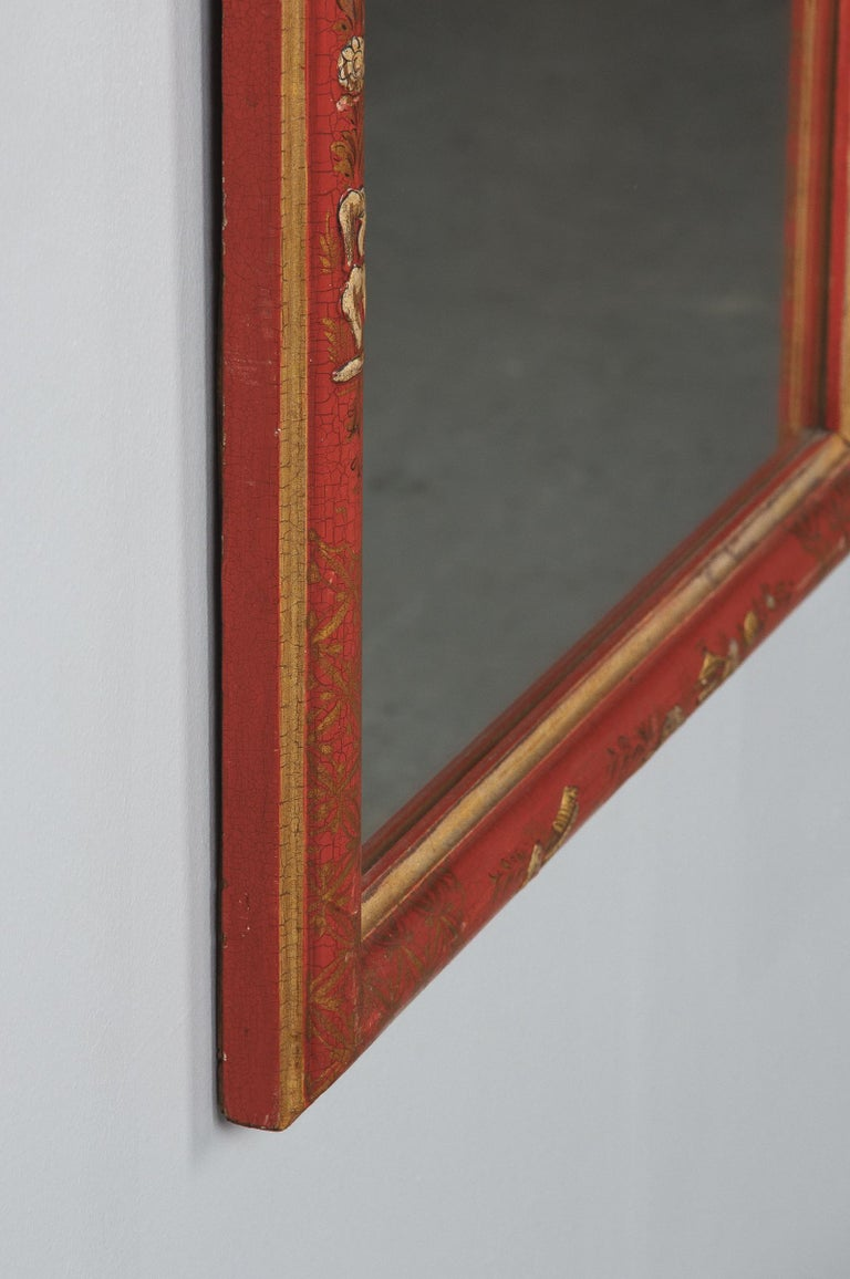 Midcentury French Chinoiserie Red Lacquered Wood Mirror For Sale 6