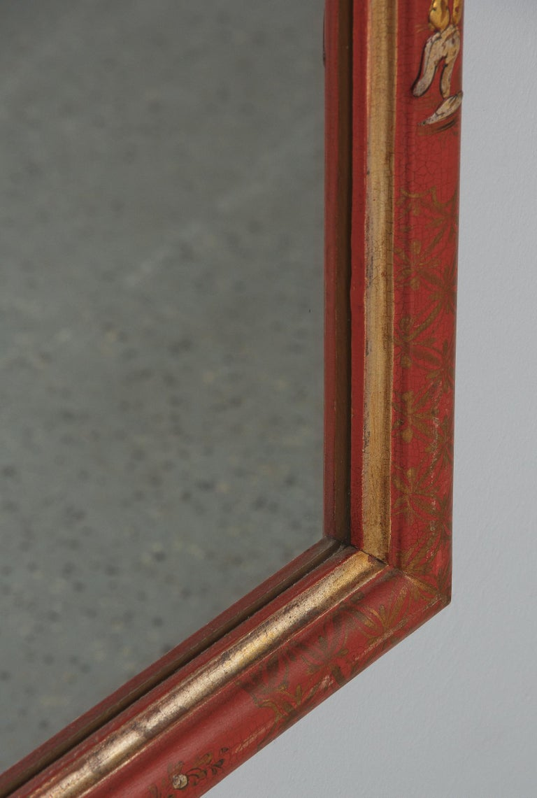 Midcentury French Chinoiserie Red Lacquered Wood Mirror For Sale 7