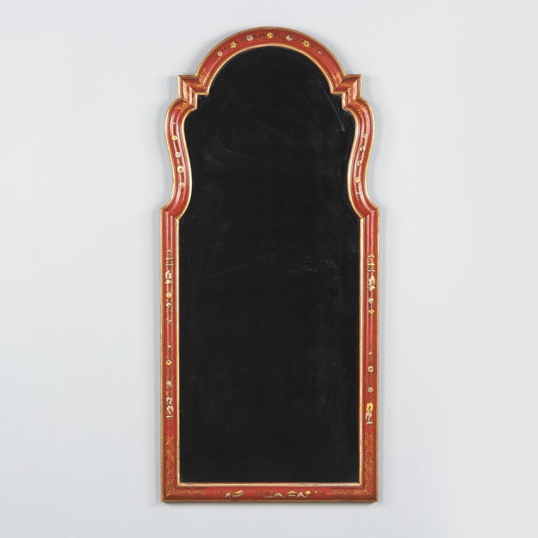 Midcentury French Chinoiserie Red Lacquered Wood Mirror For Sale 9