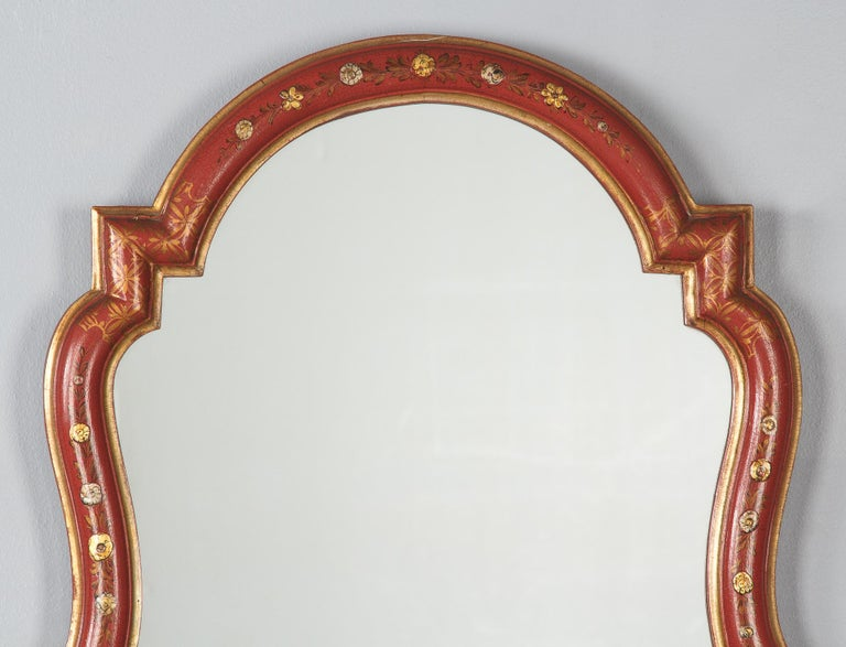 Midcentury French Chinoiserie Red Lacquered Wood Mirror For Sale 10