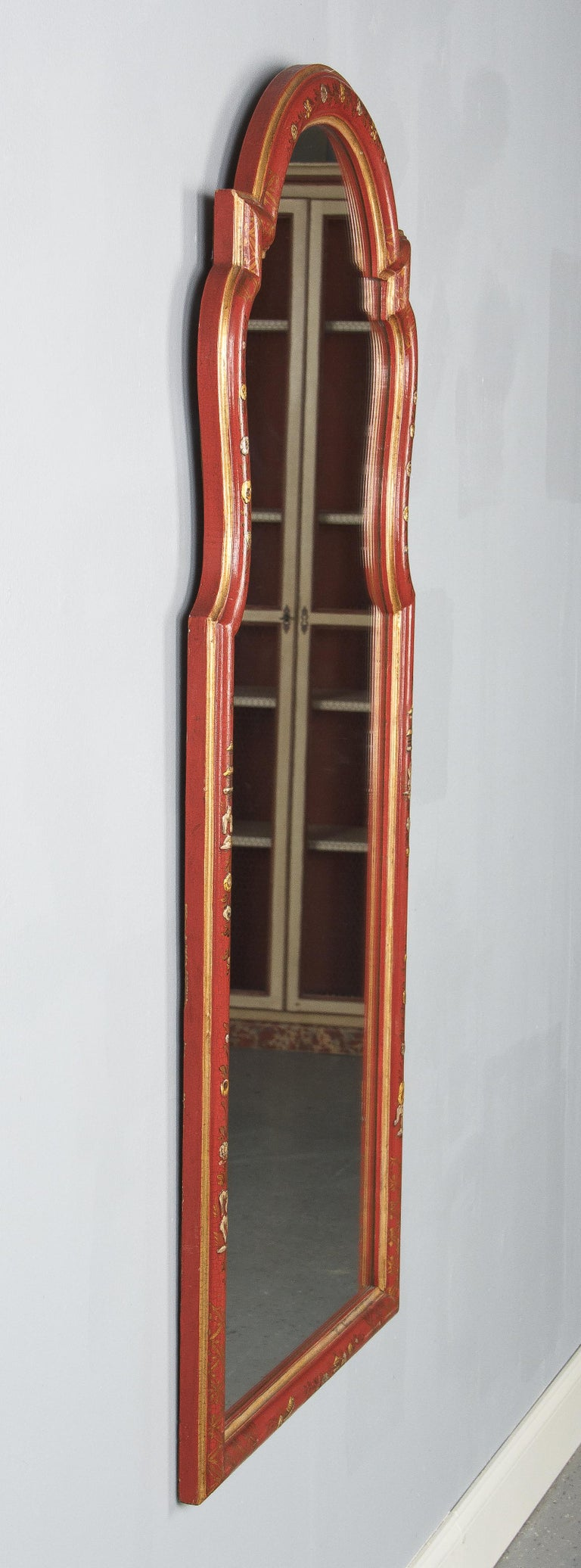 Midcentury French Chinoiserie Red Lacquered Wood Mirror In Good Condition For Sale In Austin, TX