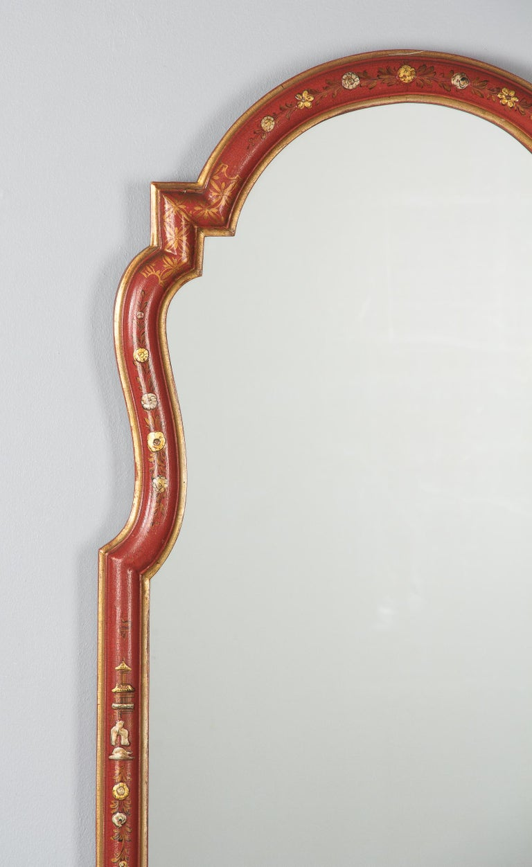 20th Century Midcentury French Chinoiserie Red Lacquered Wood Mirror For Sale