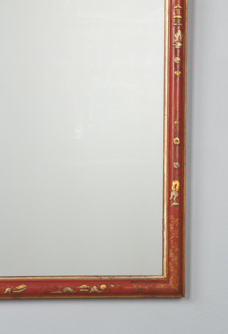Midcentury French Chinoiserie Red Lacquered Wood Mirror For Sale 2