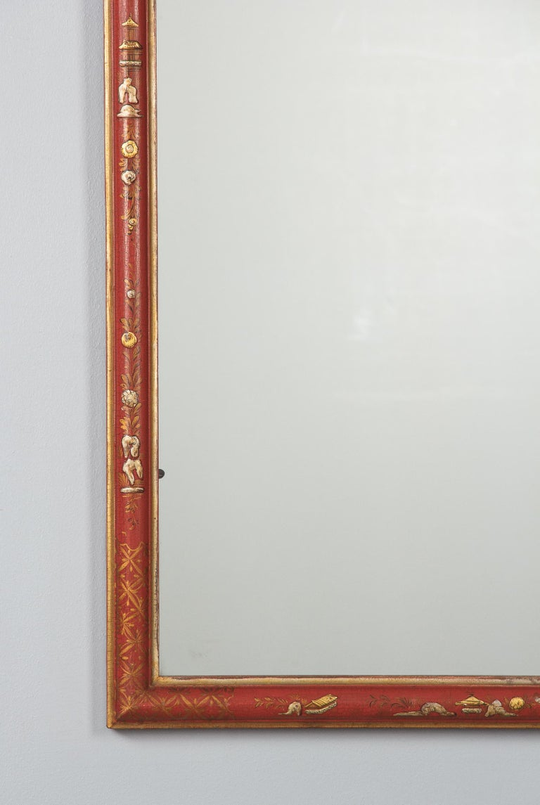 Midcentury French Chinoiserie Red Lacquered Wood Mirror For Sale 3