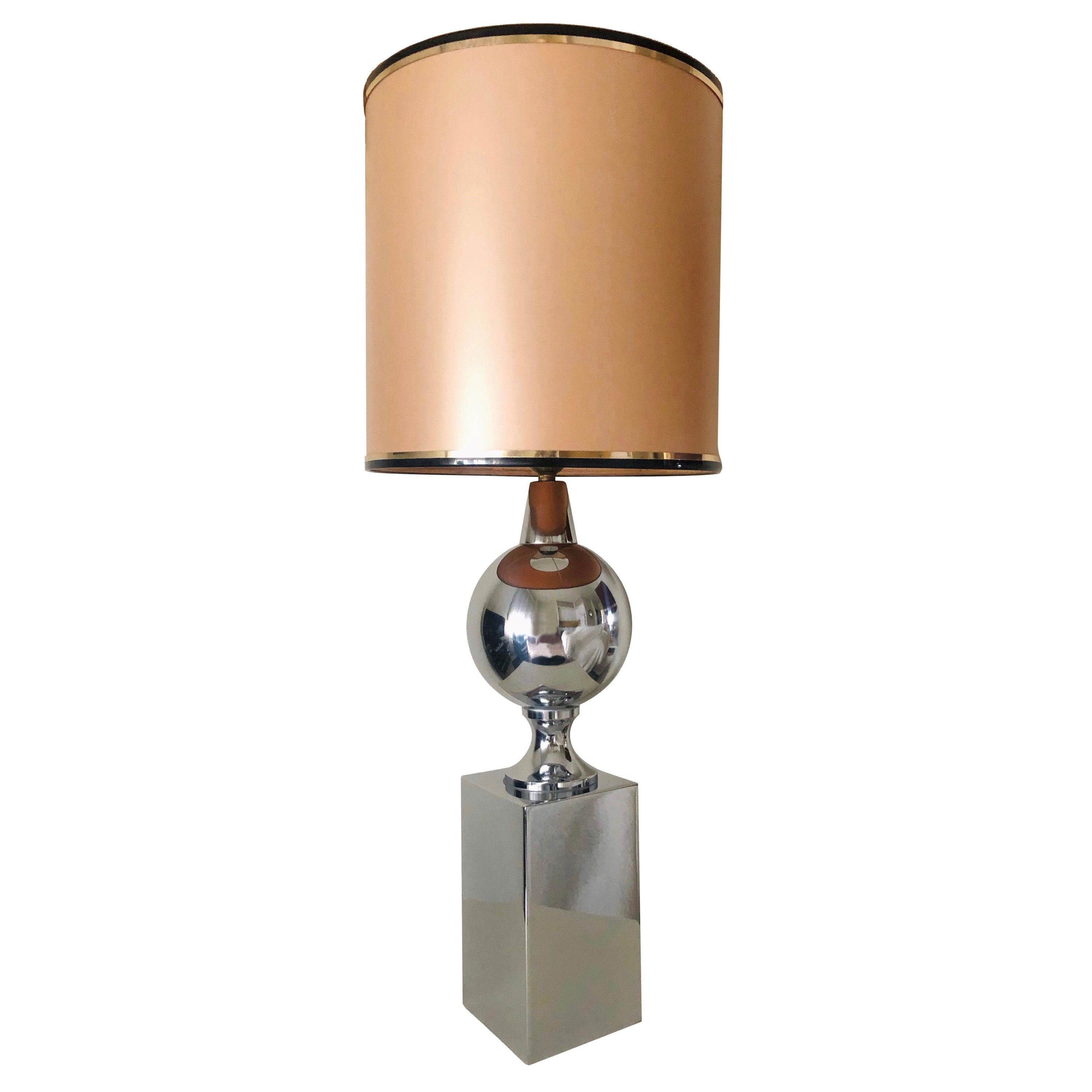 Midcentury French Chrome Table Lamp by Philippe Barbier, 1970s