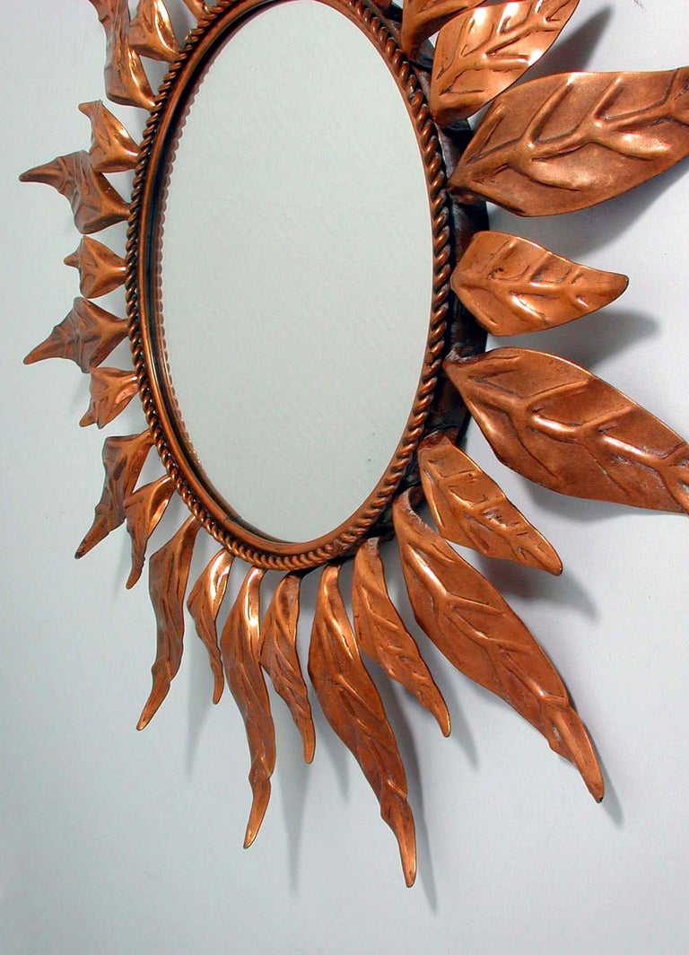 Midcentury French Copper Sunburst Wall Mirror, 1950s For Sale 5