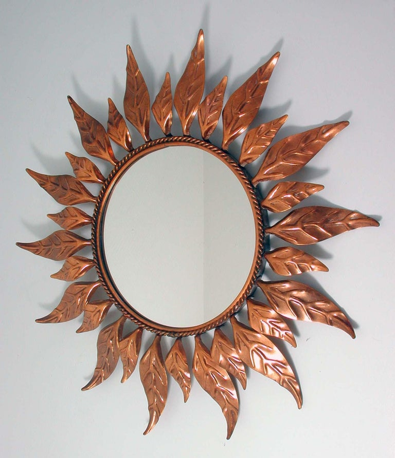 Mid-Century Modern Midcentury French Copper Sunburst Wall Mirror, 1950s For Sale
