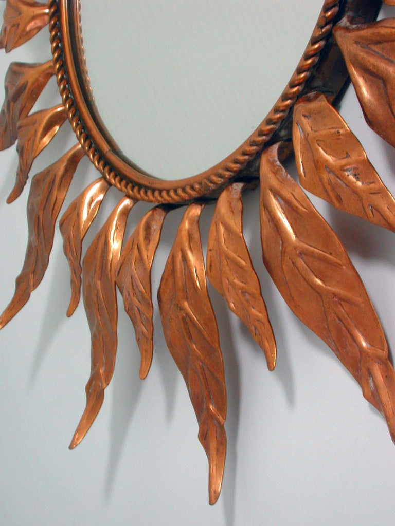 Mid-20th Century Midcentury French Copper Sunburst Wall Mirror, 1950s For Sale