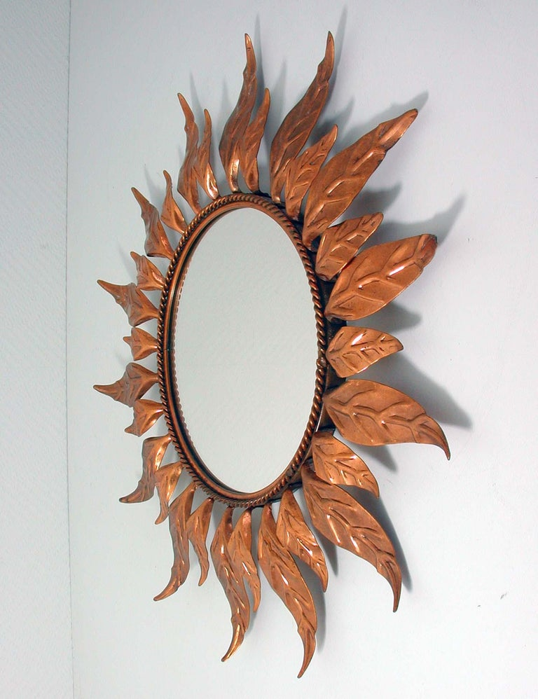 Midcentury French Copper Sunburst Wall Mirror, 1950s For Sale 1