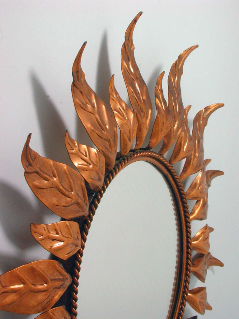Midcentury French Copper Sunburst Wall Mirror, 1950s For Sale 2