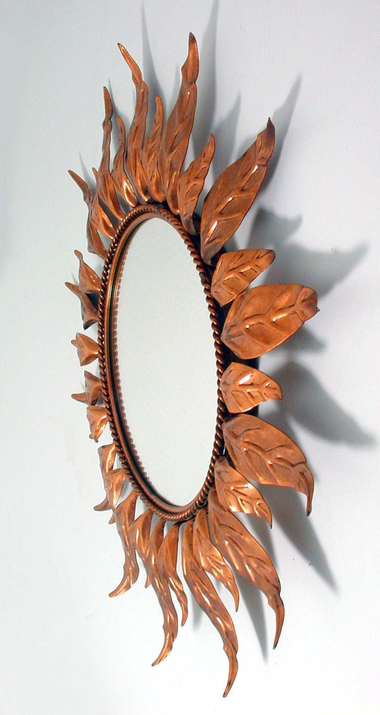Midcentury French Copper Sunburst Wall Mirror, 1950s For Sale 3