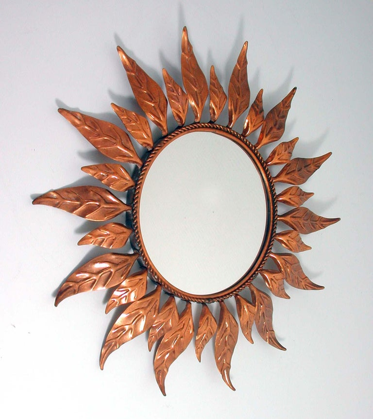 Midcentury French Copper Sunburst Wall Mirror, 1950s For Sale 4