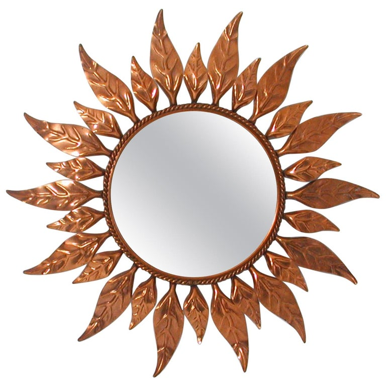 Midcentury French Copper Sunburst Wall Mirror, 1950s For Sale