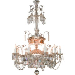 Midcentury French Cut Crystal Fifteen-Light Chandelier