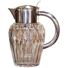 Midcentury French Cut-Glass and Silvered Brass Pitcher with Ice Holder Insert