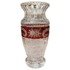 Midcentury French Cut Glass Vase with Red Floral Motifs Saint Louis Style