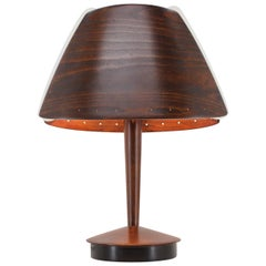 Midcentury French Design Wooden Table Lamp by Lucid / 1970s, Renovated