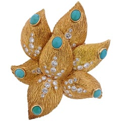 Midcentury French Diamond Turquoise Gold Brooch Pin