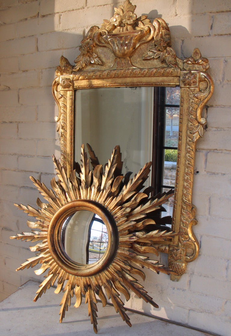 Midcentury French Double Layer Sunburst Mirror With