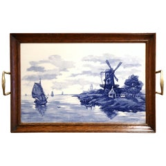 Midcentury French Framed Blue and White Painted Delft Tray