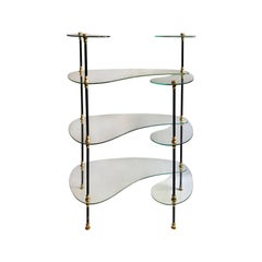 Midcentury French Free-Form Glass Etagere