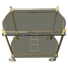 Midcentury French Gilt Rolling Bar Cart