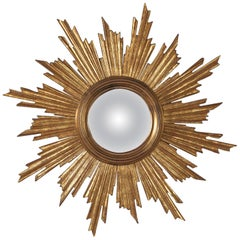 Midcentury French Giltwood Convex Sunburst Mirror, 1950s