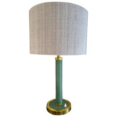 Midcentury French Green Leather and Brass Table Lamp