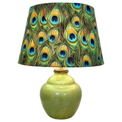 Midcentury French Green Wabi Sabi Ceramic Lamp with Colorful Lamp Shade, 1960