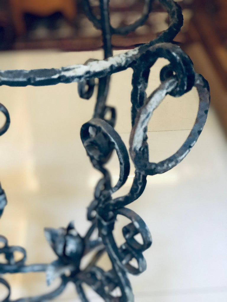 20th Century Midcentury French Handmade Wrought Iron Circle Jardinière or Table Base For Sale