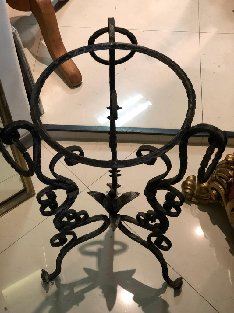 Midcentury French Handmade Wrought Iron Circle Jardinière or Table Base For Sale 3