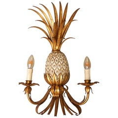 Midcentury French Hollywood Regency Pineapple Maison Charles Style Wall Sconce