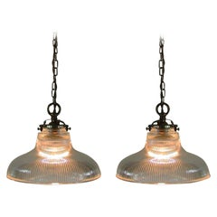 Midcentury French Holophane Industrial Glass Pendant Lamps, 1950s, Set of Two