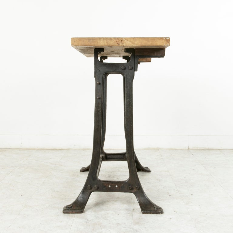 20th Century Midcentury French Industrial Console, Work Table, Kitchen Island, Iron Base For Sale