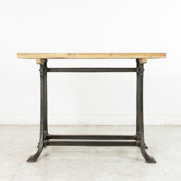 Midcentury French Industrial Console, Work Table, Kitchen Island, Iron Base For Sale 1