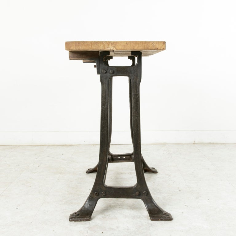 Midcentury French Industrial Console, Work Table, Kitchen Island, Iron Base For Sale 2