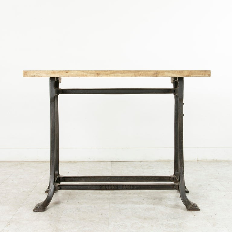 Midcentury French Industrial Console, Work Table, Kitchen Island, Iron Base For Sale 3