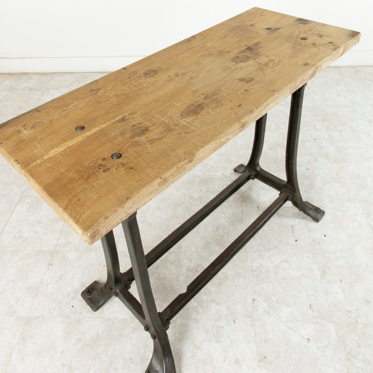 Midcentury French Industrial Console, Work Table, Kitchen Island, Iron Base For Sale 4