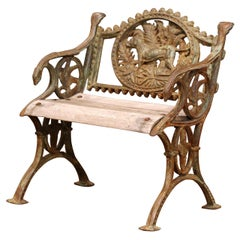 Midcentury French Iron and Teak Outdoor Armchair with Hunt Motifs
