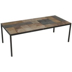 Midcentury French Iron and Tile Top Cocktail/ Coffee Table