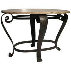 Midcentury French Iron Marble-Top Center Console Table