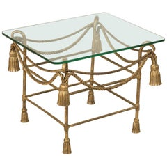 Midcentury French Jean-Charles Moreux Gilt Iron and Glass Side Table, End Table