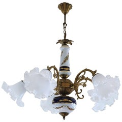 Midcentury French Limoges Porcelain and Murano Glass Five-Light Chandelier