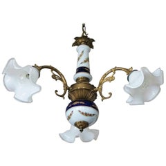 Midcentury French Limoges Porcelain and Murano Glass Three-Light Chandelier