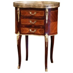 Midcentury French Louis XV Walnut and Bronze Chest of Drawers with Marble Top