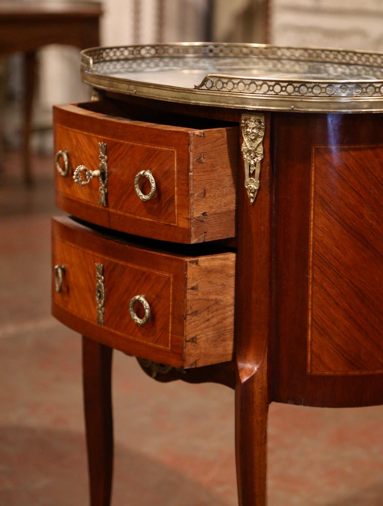 Brass Midcentury French Louis XV Walnut Parquetry Chest of Drawers with Marble Top For Sale